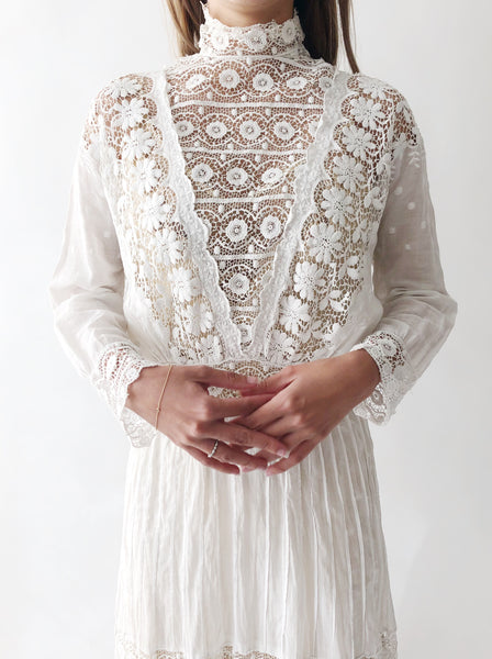 Antique Cotton Lace Crochet Embroidered Dress - S