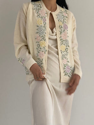 1950s Rare Heavily Beaded Roses Cardigan - S/M