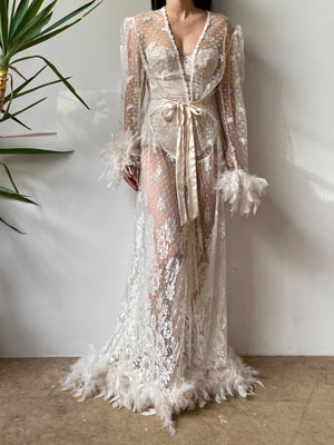Vintage Tulle Lace Feather Dressing Robe - OSFM