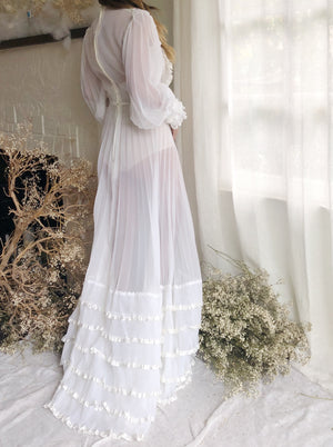 1970s Pleated Chiffon Wedding Gown -  S/M