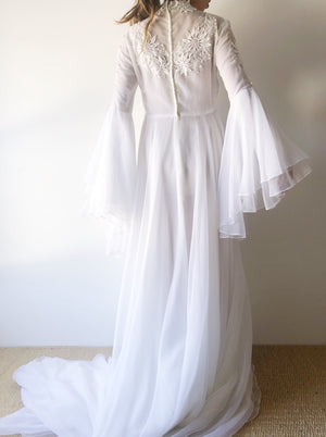 1970s Chiffon Bell Sleeves Gown - M