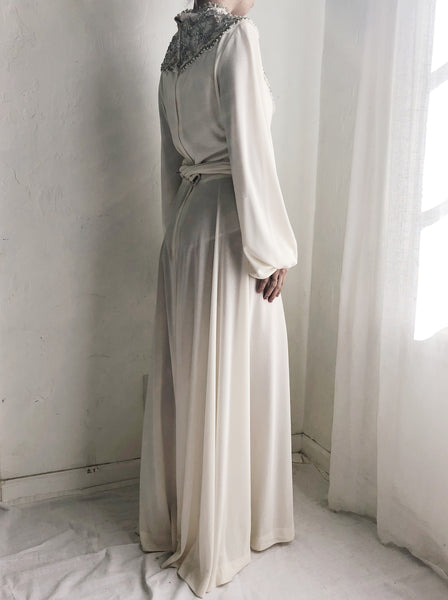 1970s High Neck Illusion Jersey Gown - S/M
