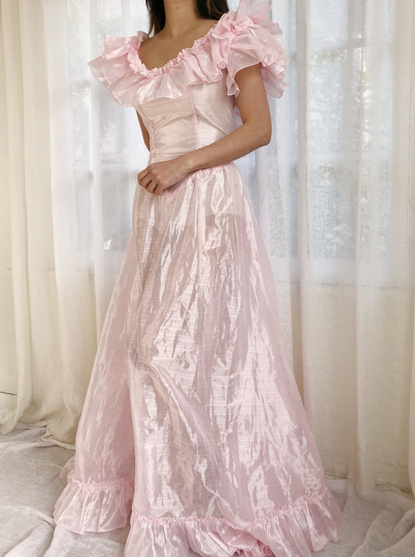 Vintage Light Pink Sheer Tricot Ruffle Gown - M