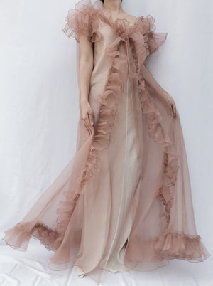 1950s Dusty Pink Organza Ruffle Dressing Robe - One Size
