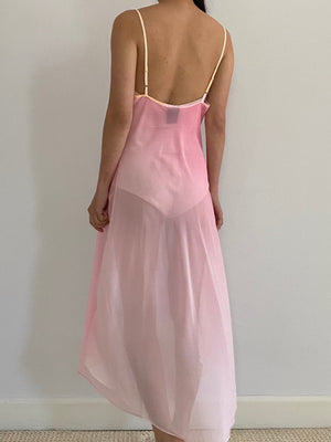 Y2K Sheer Ombré Slip Dress - S/M
