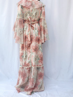 1970s Floral Angel Sleeves Dress - S/M