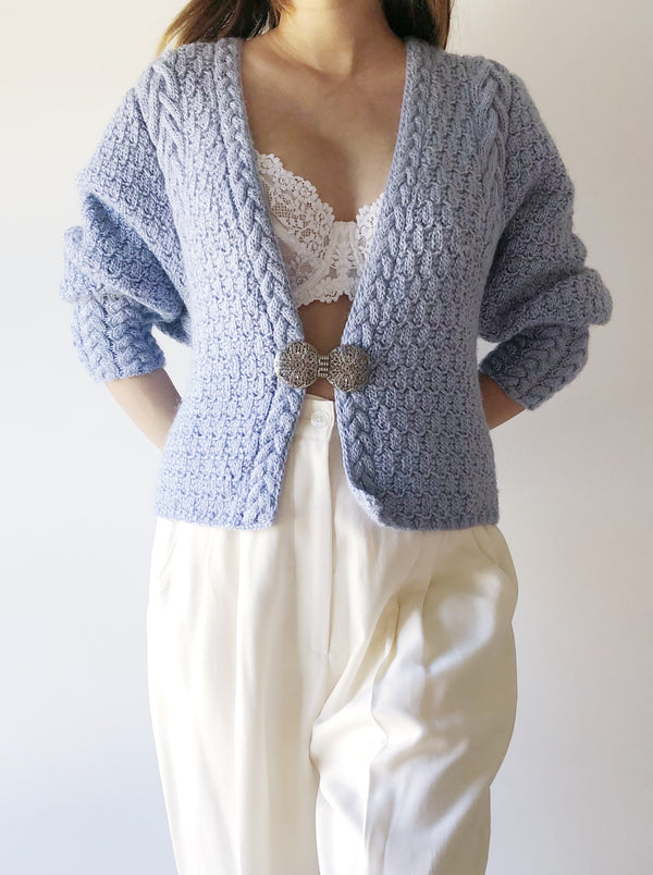 Vintage Baby Blue Mutton Sleeve Cardigan - M