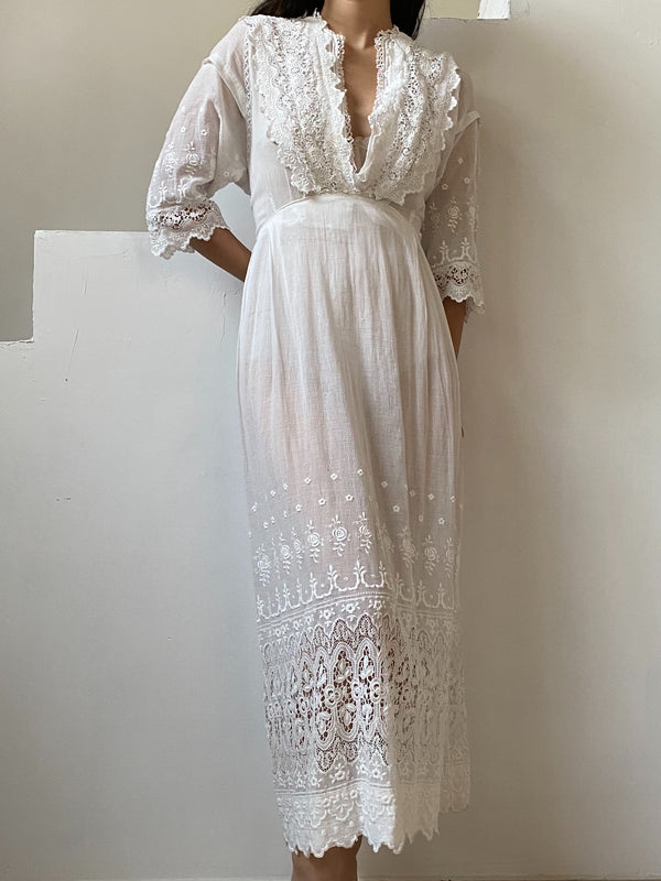Antique Whitework Embroidered Lace Gauze Dress - M
