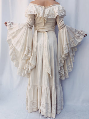 1970s Angel Sleeves Linen/Cotton Dress - XS/S