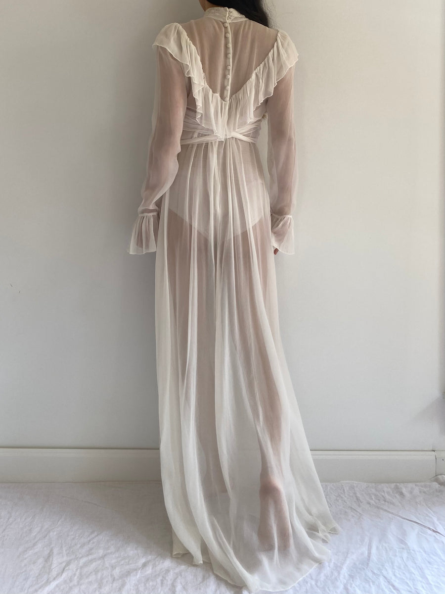 Vintage Silk Ruffle High Neck Gown - S/M