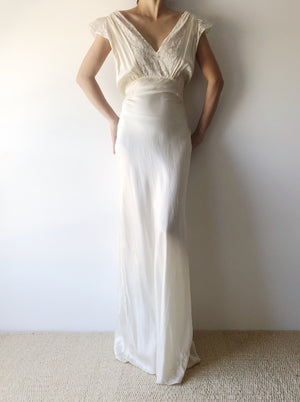 1930s Ivory Silk and Lace Gown/Slip - S