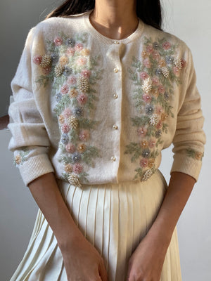 Rare 1950s Cashmere Beaded Cardigan - M
