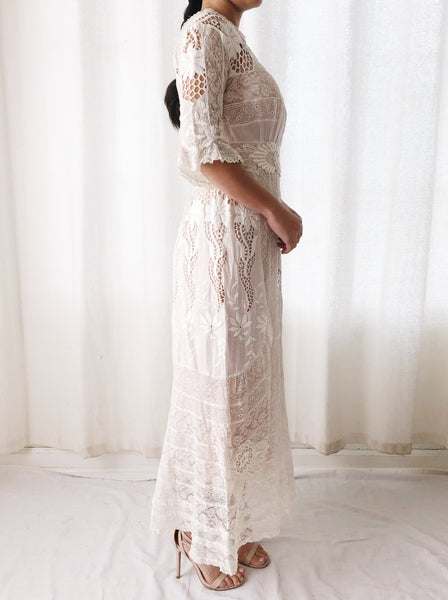 Antique Embroidered Cotton and Irish Lace Lawn Dress - XXS