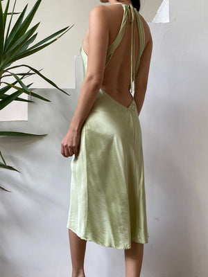 Vintage Green Silk Slip Dress - S/M