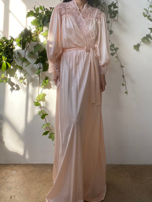 Vintage Peach Nylon Satin Dressing Gown - One Size