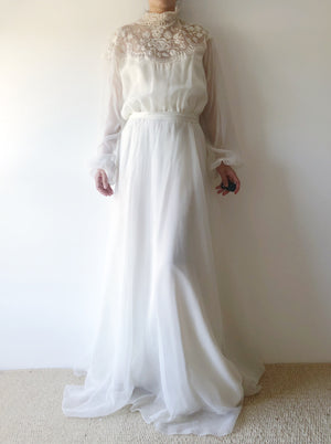 1980s Needle Lace and Chiffon Gown - S/M