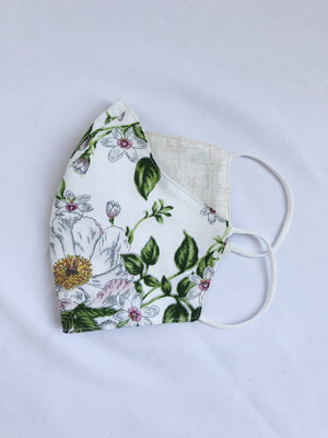 Adult White Florals Cotton Print Mask