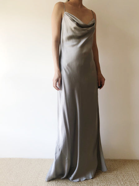 1990s Pewter Silk Charmeuse Bias Cut Dress - S