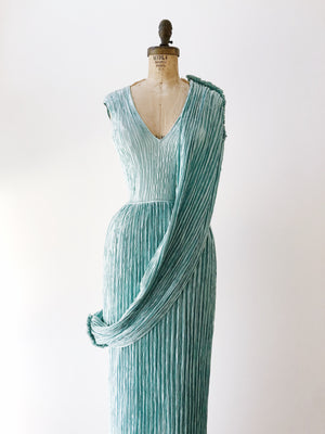 1980s Mary McFadden Seafoam Pleated Gown - US6/S