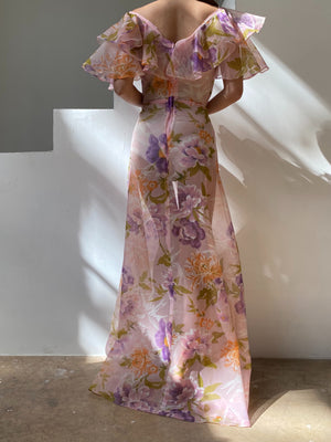 Vintage Sheer Purple Floral Voile Dress - S/M
