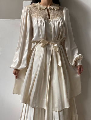 1940s Ivory Satin Dressing Gown/Duster - OSFM