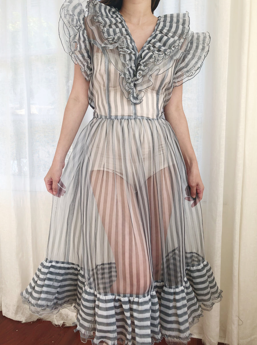 Vintage Sheer Striped Voile Ruffle Dress - S/M