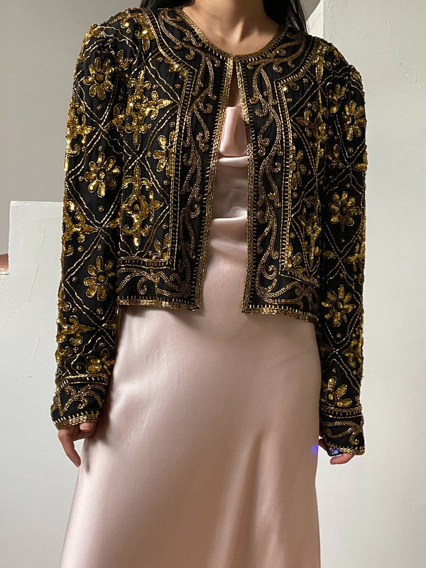 1980s Gold Silk Sequined Jacket - M/L