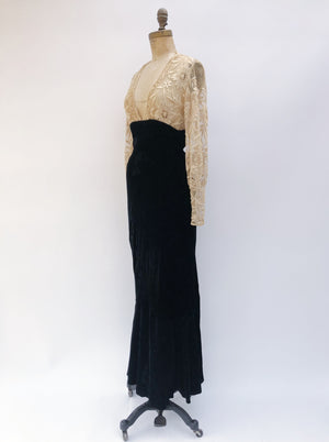 1930s Embroidered Silk Velvet Poet Sleeve Gown - XS