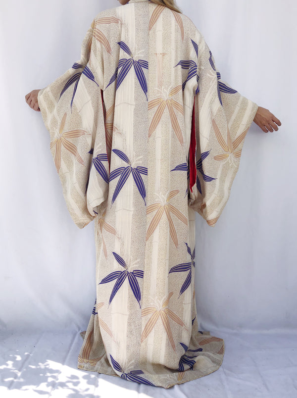 1940s Textured Silk Kimono with Bamboo Print - One Size