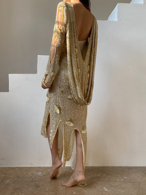 1980s Flapper Style Silk Beaded Dress - M