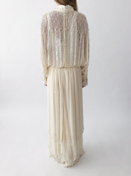 1980s Ivory Beaded Silk Chiffon Gown - M/L