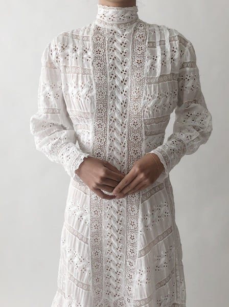 Antique Cotton Embroidered Dress - XS