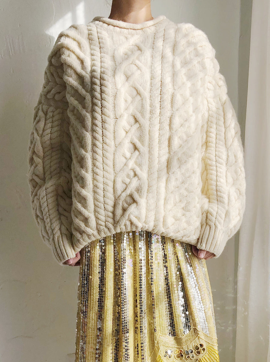 Vintage Sweater with Raised Pattern - L