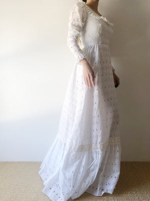 1970s Eyelet Cotton Dress - XXS