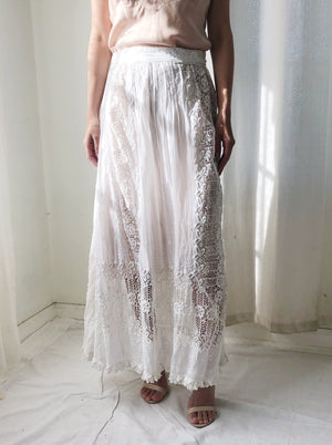 Antique Lace and Cotton Embroidered Skirt- M/L