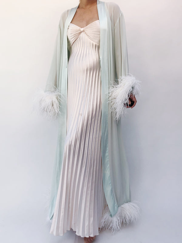 Vintage Seafoam Silk Chiffon and Ostrich Feather Robe - One Size