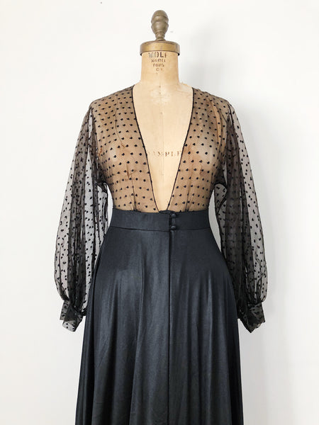 1960s Black Nylon Dressing Gown - S/M