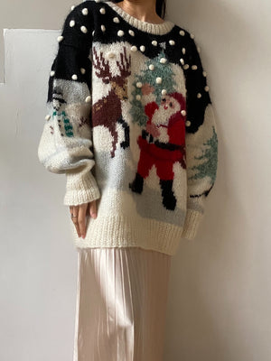 Vintage Christmas Mohair Sweater - M/L