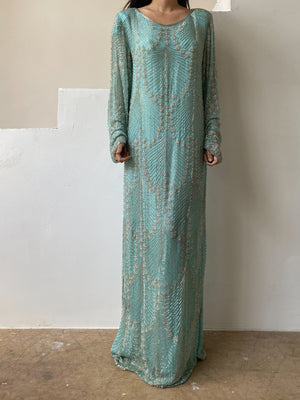 1980s Seafoam Beaded Silk Gown - M/L