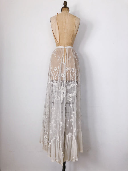 Antique Detailed Tambour Lace Skirt - S/M