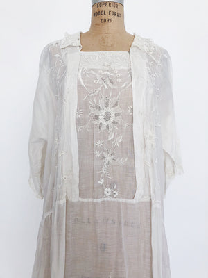 1920s Embroidered Day Dress - M/L