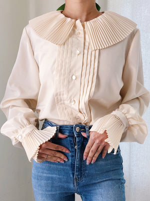 Vintage Silk Ivory Pleated Collar and Cuff Top - S/M