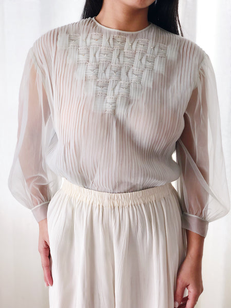 1960s Sheer Nylon Seafoam Pleated Top - S/M