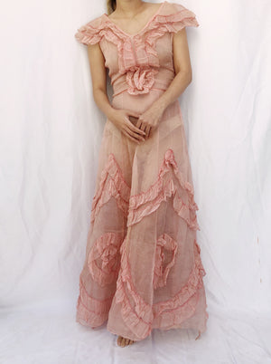 1930s Dusty Pink Ruffle Organdy Gown - XS/S