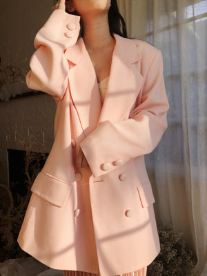 Vintage Pink Double Breasted Blazer Jacket - M/L