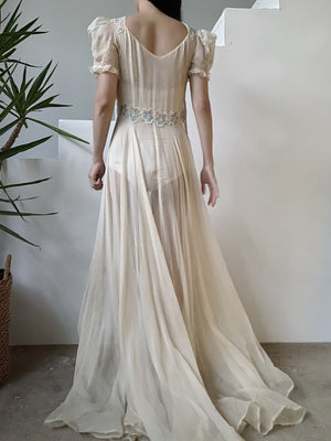 1930s Ivory Silk Chiffon Gauze Dress - XS