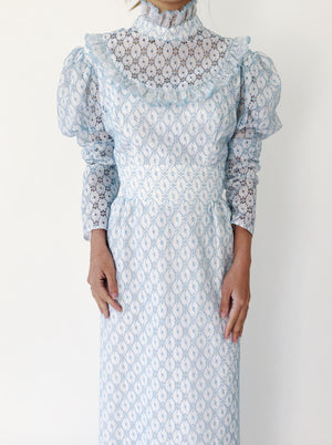 1960s Blue Crochet Lace Mutton Sleeves Dress - S/M