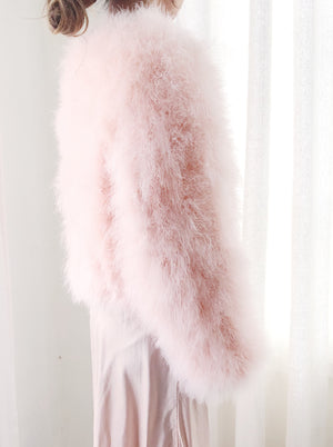 Vintage Pink Feather Jacket - S/M