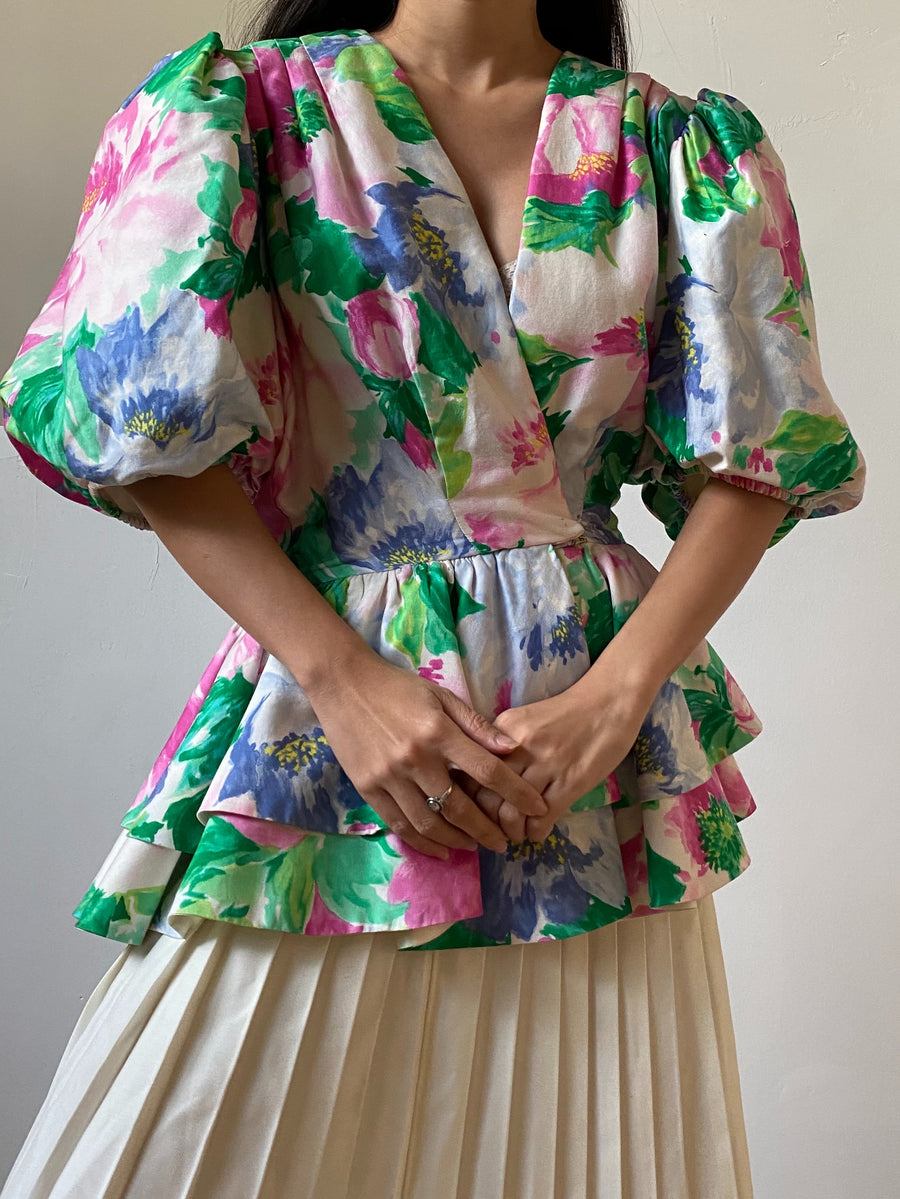 1980s Floral Puff Silk Sleeves Blazer Top - S/M