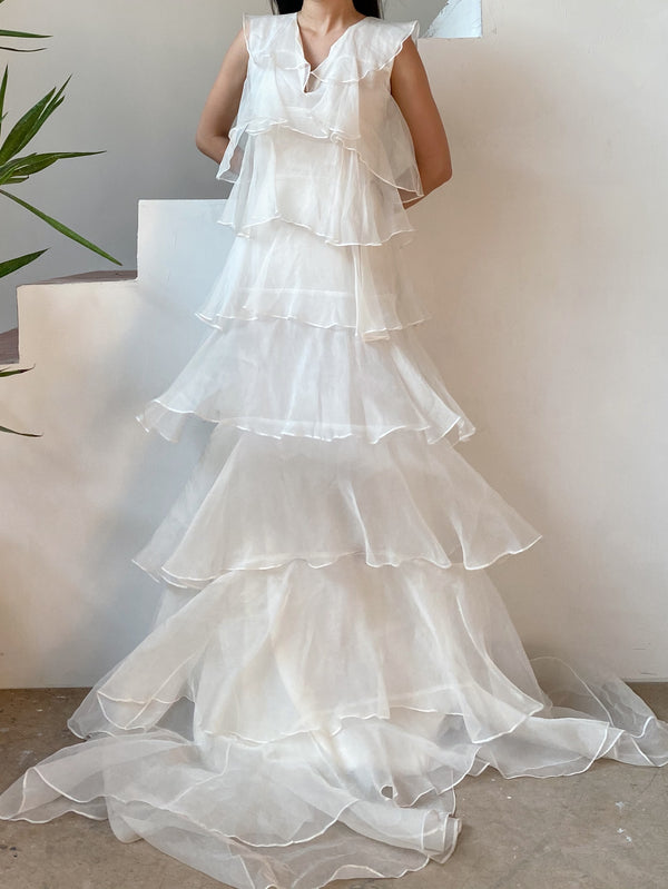 Silk Organza Layered Gown - M